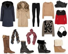 Ideas of what to pack for a winter vacation. You don't need two jackets and four pairs of shoes though.