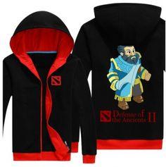Mens Kunkka preto zip acima o hoodie DOTA 2 herói plus size