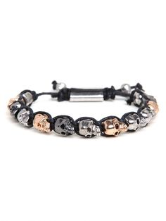 Skulls Drawcord Bracelet from #BaubleBar...perfect complement to our skulled and edgy 'Maui' #flipflop.