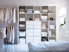 Find 10 Open Closet Ideas for you HomeMakeover Ikea Wardrobe Storage, Ikea Bedroom Storage, Bedroom Shelves, Ikea Storage, Ikea Kallax Shelf, Ikea Kallax Regal, Dressing Ikea, Dressing Rooms, Bedroom Furniture Design