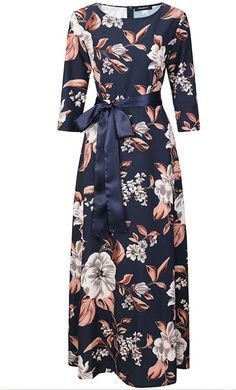 Womens Bold Floral Print Satin Maxi Dress with Matching Ribbon Belt