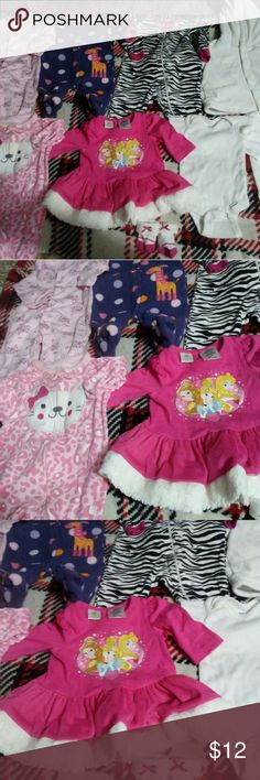 Newborn-3 month girl bundle All good condition items different brands  1-jacket from gap 1-short sleeve onesis  1-long sleeve onesis  1-Disney's dress with matching socks 4-sleeper outfits with feet Disney One Pieces Footies