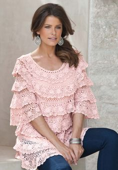 Plus Size Crochet Tiered Pullover