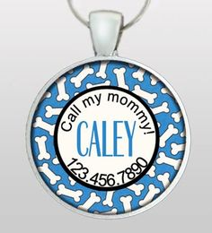 Custom Pet ID Tag - Dog Name ID Tag - Custom name & phone number - Blue with White Bones. Design No. 130. $8.45, via Etsy.