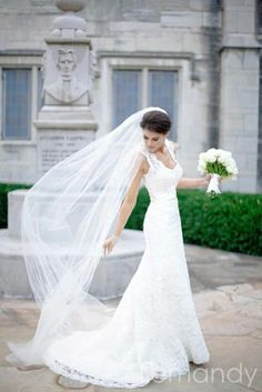 white mermaid lace wedding dress with straps and chapel train. $315.00, via #wedding dress #bride
