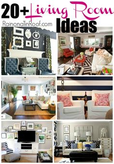 I always struggle with decorating my living room. What fabrics to use? What patterns to mix? Here are 20+ living room ideas to help me and you. via RainonaTinRoof.com