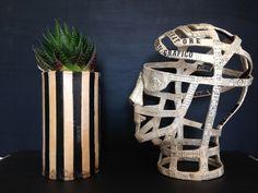 paper mache steampunk head and paper mache flowerpot by molekuele Paper Clay, Paper Mache, Sculpture Clay, Sculptures, Flower Pots, Steampunk, Objects, Hands, Vase
