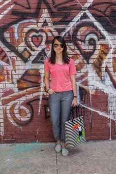 Aviator Sunglasses: #Prada; Pocket Tee: @ZSupply; Jeans: @joesjeans; Striped Toucan Canvas Tote: @katespadeny; Espadrilles: @soludos
