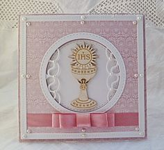 .: Komunia First Holy Communion, Kirchen, Cute Cards, Confirmation, Card Making, Paper Crafts, Handmade, Scrapbooking, Invitations