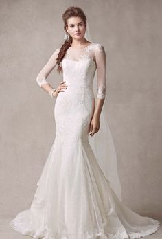 Brides: Melissa Sweet for David's Bridal. Chantilly lace trumpet gown with illusion sleeves.��See More Melissa Sweet Dresses for David's Bridal