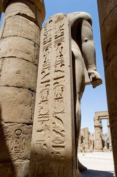 Consecrated to God Amon-Re the Luxor temple was built by Amenophis III (1391-1353) , elarged later on mostly  by Ramasses II (1279-1213). The temple was linked to Karnak by a 3km alley lined with sphinxes. Luxor. Egypt