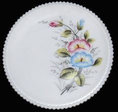 Vintage Westmoreland Milk Glass w/HP Pansy Beaded Edge Pattern Plate Westmoreland Glass, Glass Collection, Milk Glass, Plates, Tableware, Pretty, Pattern, Vintage, Licence Plates