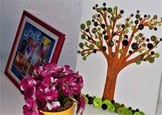 DIY-Idee aus Knöpfen – grüner Knopf Baum
