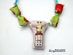 Little Girl Necklace Fabric Thread Painted Domino by LizzyDeane, $21.99