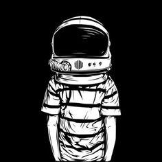 B&W VECTOR on Illustration Served: human body, astronaut head Space Man, Graffiti, Belle Photo, Oeuvre D'art, Vector Art, Pop Art, Art Drawings, Space Drawings, Concept Art