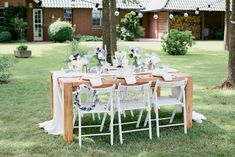 Outdoor Furniture Sets, Outdoor Decor, Decoration Table, Wedding, Home Decor, Just Married, Lilac Bushes, Garlands, Wedding Pie Table