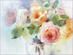 A Bunch of Flowers Original Watercolor Painting by CMwatercolors