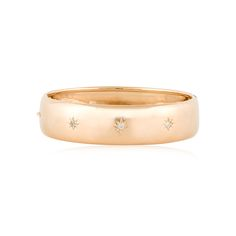 Victorian 18K rose gold bangle bracelet with old mine cut diamonds, French