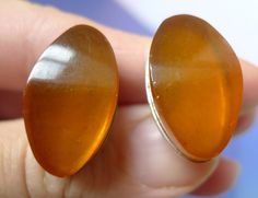 Vintage Retro USSR Men Jewelry Cognac Honey Amber Color Cufflinks 13g