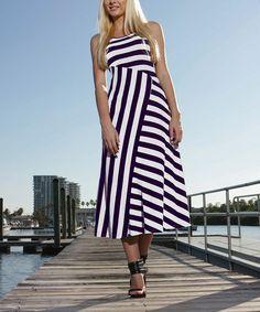 White & Navy Asymmetrical Stripe Maxi Dress by Exist #zulily #zulilyfinds
