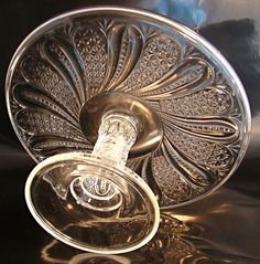 EAPG Pedestal Cake Stand in the Feather Pattern - Circa 1860's from littleriverantiquesandcollectibles on Ruby Lane