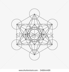 Metatrons Cube - Flower of Life. Vector Illustration.