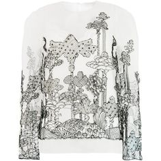 Chloé Dreamscape tulle blouse (2315 LYD) ❤ liked on Polyvore featuring tops, blouses, white, white long sleeve blouse, sheer blouse, white embroidered blouse, embroidered top and white top