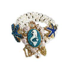 Betsey Johnson Sea Excursion Mermaid Starfish Bracelet ($65) ❤ liked on Polyvore featuring jewelry, bracelets, star fish jewelry, betsey johnson jewellery, betsey johnson bangle, starfish jewelry and betsey johnson