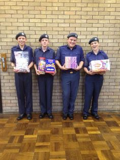 Colwyn bay 271 air cadets squadron is our cause. These cadets are lovely and were giggling away when we were preparing for a fundraising event. The sweets they are holding were prizes for the fundraising games they did #FridayFund #Fundraising #Giving #AirCadets