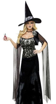 Sexy Womens Gothic Witch Victorian Halloween Costume | eBay