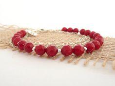 Coral Bracelet, Sterling Silver Bracelet, Silver Bracelet with Coral Beads, Charm Bracelet