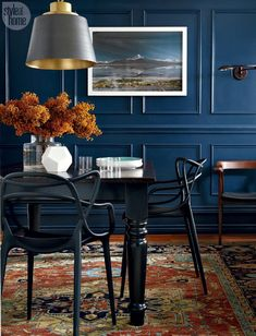 You'll be able to discover dining room concepts for decorating in whatever from Victorian to renaissance Italian, as well as more contemporary and contemporary styles. All of it depends upon what you like, and how you like decorating a dining room. Dark Blue Dining Room, Dining Room Walls, Dining Room Design, Traditional Dining Rooms, Traditional Kitchens, Traditional Bedroom, Beautiful Dining Rooms, Dining Room Inspiration, Living Room Modern