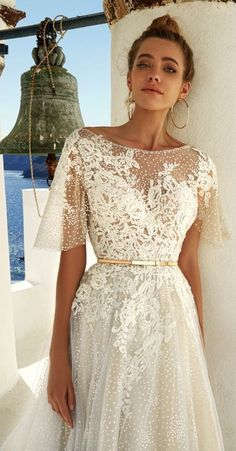 Wedding Dress eva lendel 2017 bridal half cape sleeves illusion bateau sweetheart neckline heavily embellished bodice romantic a line wedding dress open v low back chapel train (white) zv - Chic bridal gowns that are perfect the stylish, modern bride. Wedding Robe, Dream Wedding Dresses, Bridal Dresses, Wedding Dress Cape, Bateau Wedding Dress, Polka Dot Wedding Dress, Wedding Ceremony, Half Sleeve Wedding Dress, Wedding Dressed With Sleeves