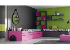 """#Dormitorio #juvenil con dos #camas #modulares compuestas a base de prácticos y versatiles CUBOS. Las camas Cubo se adaptan a tu espacio y también a tu familia. Si quieres que dos hermanos compartan habitación, puedes disponer las camas Cubo en forma de """"L"""" incorporando cajones de diferentes capacidades según tus necesidades. Entre las dos camas puedes organizar un espacio extra para almacenar introduciendo un baúl en forma de Cubo. Con el sistema modular """"Cubo"""" las posibilidades son muchas."""
