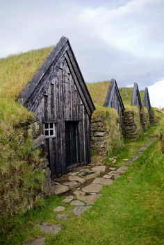 "Keldur, Iceland - Storage sheds (Stóra, litla skemma, hjallur) and smithy (smiðja) stand in a row attached to the old ""skáli"". Photograpy by Pall Asmundsson Beautiful World, Beautiful Places, Old Barns, Bungalows, Ireland Travel, Of Wallpaper, Oh The Places You'll Go, Dream Vacations, The Good Place"