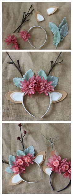 DIY Floral Deer Antler Headband- Great for a Halloween Costume, Newborn Photos or a Woodland Party!