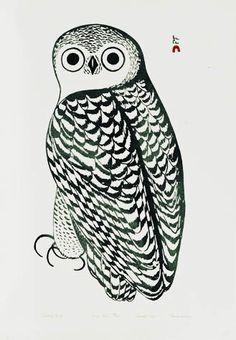 """Snowy Owl"" by Inuit artist, Kananginak Pootoogook from Capre Dorset"