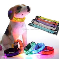 rechargeable Leopard Pet Dog LED Collar Cat Collars Flashing Nylon Neck Light Up Training Collar for dogs Pet Supplies Dog Collars
