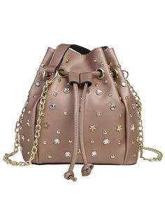 Rhinestone And Star Embellished Stud Drawstring Bucket Shoulder Bag