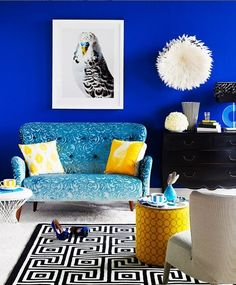 electric blue, white, black, yellow, prints - living room