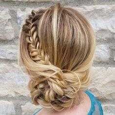 Textured braided updo hairstyle , side updo hairstyle #weddingupdo #chignon #bridehair #longhairdontcare #hairinspo #braid #braidideas #braided