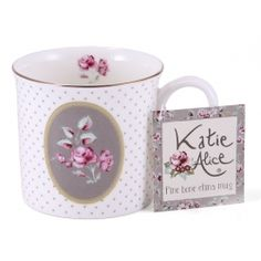 Katie Alice  Ditsy Floral Grey Oval  Bone China Palace Mug 09c694b35a0
