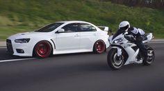 Mitsubishi Evo X and Yamaha Yamaha Bikes, Yamaha Motor, Yamaha R1, Japanese Sports Cars, Japanese Cars, Mitsubishi Motors, Evo X, Cars Usa, Mitsubishi Lancer Evolution