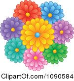 Clipart Bunch Of Colorful Daisy Flowers Royalty Free Vector Illustration by visekart