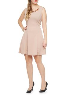 Plus Size Fitted Flare Skater Dress With Gold Chest Plate,ROSE