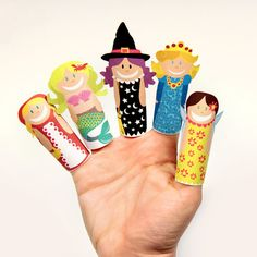 FANTASY GIRLS Paper Finger Puppets  Printable Pdf Toy  by pukaca