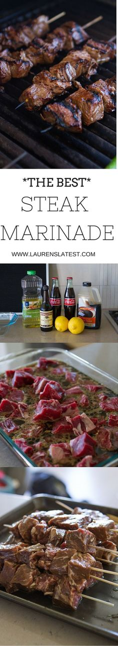 The Best Steak Marinade An easy and simple homemade meat marinade for summer! Made with soy sauce garlic oil lemon juice and Coca-Cola this will make you love steak even more than you already do! Source by hickmancounty Steak Marinade Recipes, Meat Marinade, Grilling Recipes, Meat Recipes, Cooking Recipes, Recipies, Vegemite Recipes, Meat Meals, Game Recipes