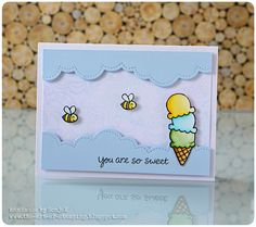 "Freundschaftskarte, Dankeskarte | friendship or thank you card - Lawn Fawn ""Here's the Scoop"", ""Bee mine"", ""Puffy Cloud Borders"", Hero Arts ""Flower Dot Pattern"", Akashiya Sai Watercolor Brush Pens, Pan Pastels"