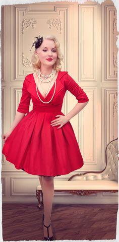 Welcome to Kitten D'Amour Dress Skirt, Dress Red, Vintage Ladies, Vintage Woman, Weekend Style, Collar Dress, Pin Up Girls, Skirt Fashion, Lady In Red