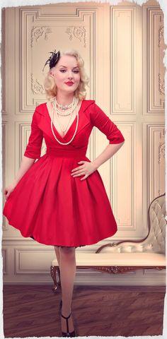 Petite Petale Collar Dress (Red)